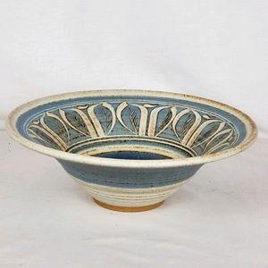 Handmade studio art stoneware pottery leaf design